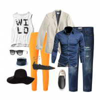 couples style :: what to wear :: blue and orange